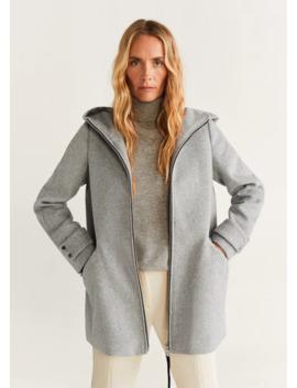 Παλτό μάλλινο με κουκούλα by Mango