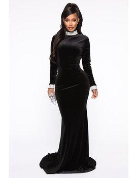 Blissful Bunny Velvet Maxi Dress   Black by Fashion Nova