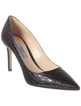 Prada Croc Embossed Leather Pointy Toe Pump by Prada