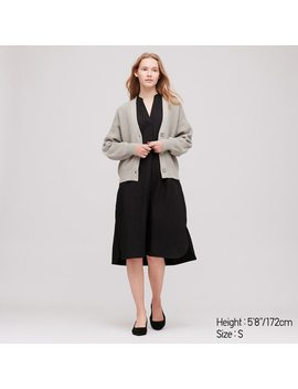 Damen Lockere Strickjacke Mit V Ausschnitt by Uniqlo