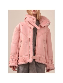 Oversized Pink Shearling Motorcycle Leather Jacket by Loeil