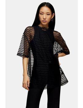 **Black Mesh Stripe T Shirt By Topshop Boutique by Topshop