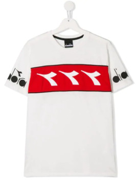 T Shirt Met Logostreep by Diadora Junior