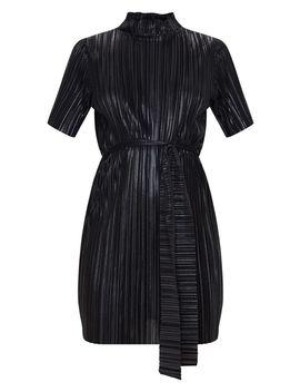 Black Crinkle Foil Tie Waist T Shirt Dress by Prettylittlething