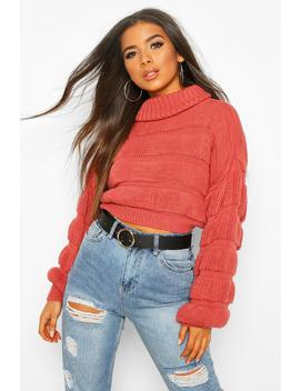 Bubble Knit Cropped Jumper by Boohoo