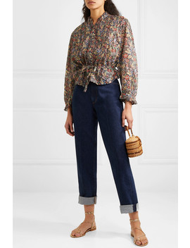 Cezanne Belted Floral Print Cotton Voile Blouse by DÔen