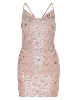 Dusty Pink Glitter Sequin Detail Strappy Cowl Neck Bodycon Dress by Prettylittlething