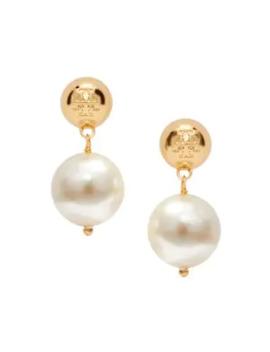 Faux Pearl Logo Drop Earrings by Tory Burch