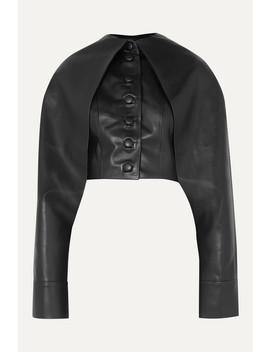 Cape Effect Faux Leather Jacket by Aleksandre Akhalkatsishvili