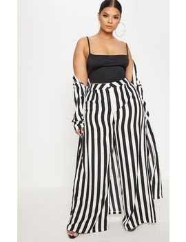 Plus Black Striped Wide Leg Pants  by Prettylittlething