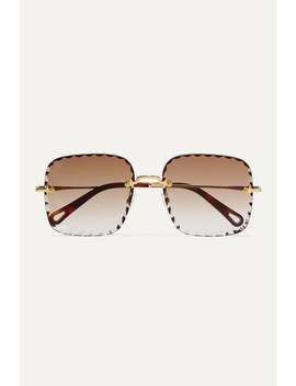 Rosie Square Frame Gold Tone And Tortoiseshell Acetate Sunglasses by Chloé
