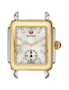 Deco 16 Diamond Dial Two Tone Watch Case, 29mm X 31mm by Michele