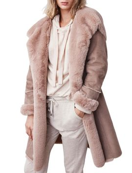 Faux Fur Trim Hooded Coat by B New York