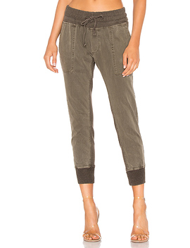 Contrast Sweatpants In Army Green Pigment by James Perse
