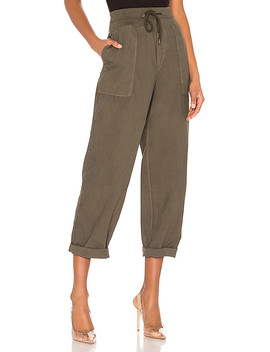 Mixed Media Poplin Pant In Army Green by James Perse