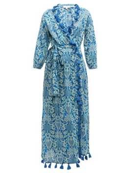 Lena Tassel Trimmed Floral Print Cotton Dress by Rhode