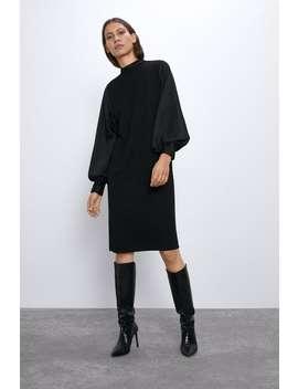 Vestido Combinado Acetinado by Zara