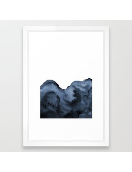 Watercolor Splash In Blue Framed Art Print by Society6