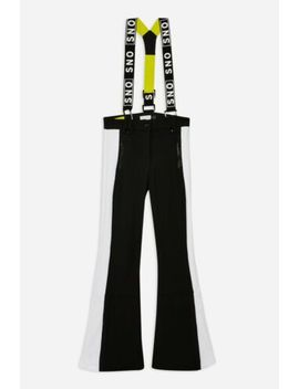 Topshop Sno Black White Celine Flare Leg Snow Ski Trousers Suspenders Pants 6 Us by Topshop Sno