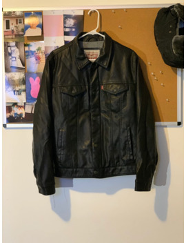 Levi's Leather Black Trucker Jacket by Levi's  ×