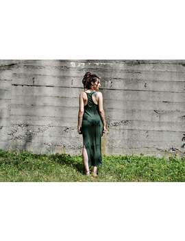 Egypt ~ Long Dress, Maxi Dress ~ Racerback, With Rivets ~ Batik, Tie Dye ~ Green, Forest Green by Etsy
