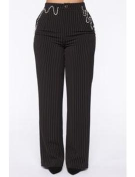 Drippin' In Riches Pinstripe Trousers   Black by Fashion Nova