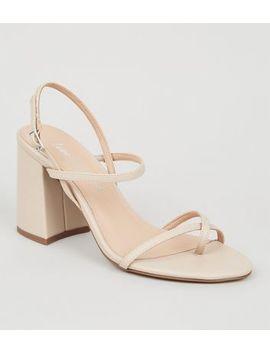Cream Leather Look Toe Loop Block Heels by New Look