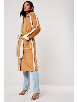 Brown Faux Suede Teddy Borg Reversible Trench Coat by Missguided