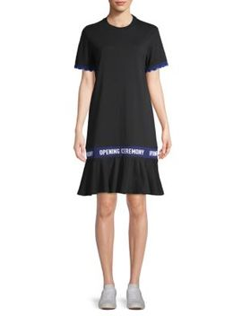 Scalloped Logo Tape Cotton T Shirt Dress by Opening Ceremony