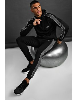 Man Poly Skinny Fit Hooded Tracksuit by Boohoo