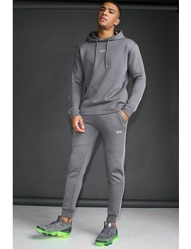 Man Active Skinny Fit Reflective Piping Tracksuit by Boohoo