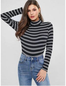Mock Neck Contrast Stripes Ribbed Bodysuit   Black M by Zaful