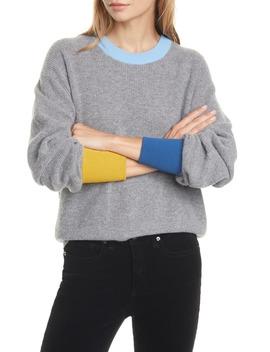 Nelda Contrast Trim Merino Wool & Cashmere Sweater by Veronica Beard