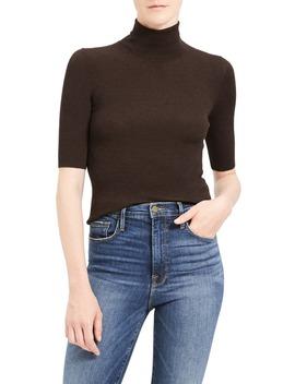 Leenda R Regal Ribbed Elbow Sleeve Wool Blend Sweater by Theory