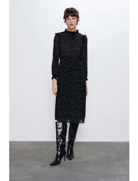 Sukienka W Kropki Z Plisowaniem by Zara