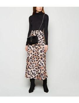 Tall Brown Satin Leopard Print Midi Skirt by New Look