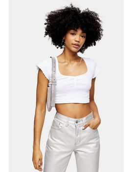 White Ribbed Ruched Crop T Shirt by Topshop