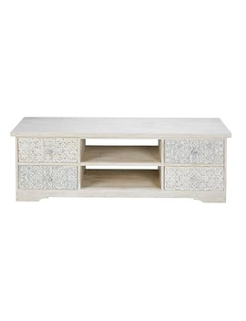 Bleached And Sculpted Mango Wood Tv Unit   Namaste by Maisons Du Monde