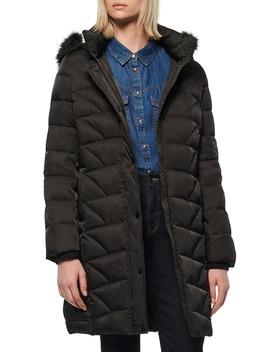 Medina Faux Fur Trim Down Puffer Jacket by Marc New York