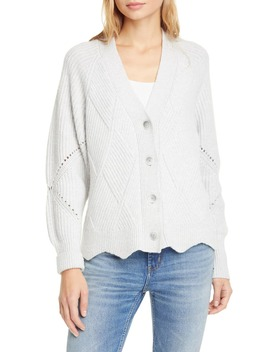 Basket Weave Ribbed Pointelle Knit Cardigan by Rebecca Taylor