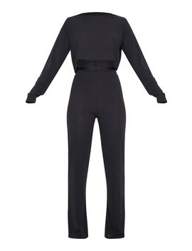 Black Soft Rib Long Leg Pyjama Set by Prettylittlething