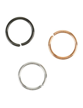 Steel Silver Black & Rose Gold Segment Nose Hoop 3 Pack by Hot Topic