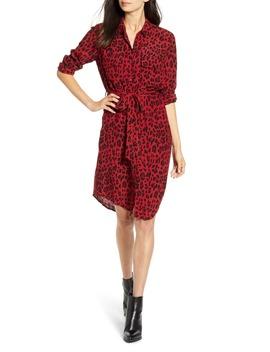 Alix Red Leopard Print Long Sleeve Shirtdress by Rails