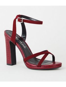 Dark Red Faux Croc 2 Part Platform Heels by New Look