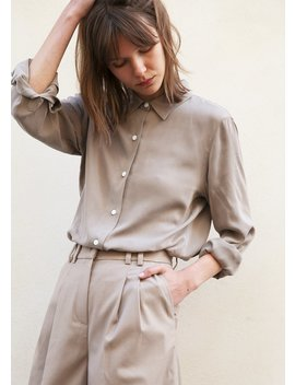 Contrast Button Tencel Blouse In Dark Taupe by The Frankie Shop