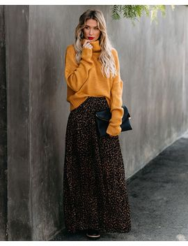 Bagheera Pleated Leopard Maxi Skirt by Vici