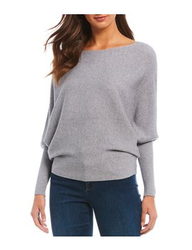 Boat Neck Dolman Ribbed Long Sleeve Knit Top by Chelsea & Theodore