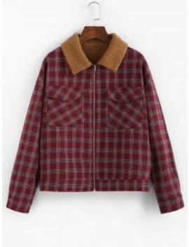Zaful Plaid Faux Shearling Lined Zip Flap Pocket Jacket   Red Wine M by Zaful