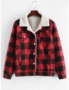 Sale Button Up Plaid Pockets Shearling Jacket   Red M by Zaful