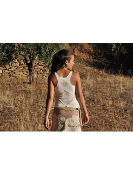 Gaia ~ Racerback, Cut Out Top ~ With Lace And Brass Beads ~ White by Etsy